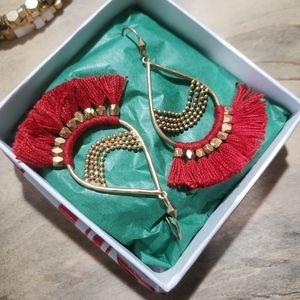 Stella & Dot Red Frige Earrings